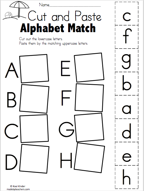 Summer Alphabet Match - Cut and Paste - Madebyteachers