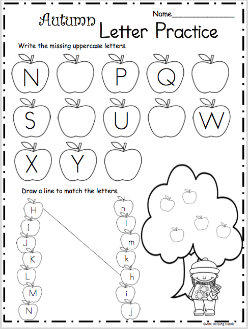 Fall Letters Practice - N to Z - Madebyteachers