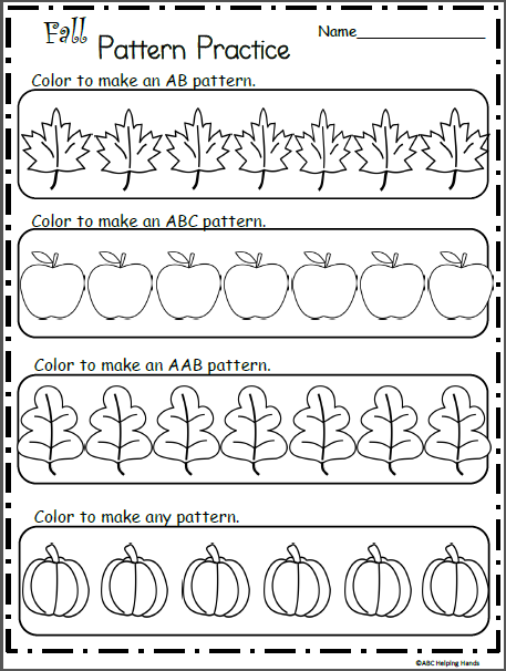 Make Fall Patterns Coloring Worksheet Madebyteachers