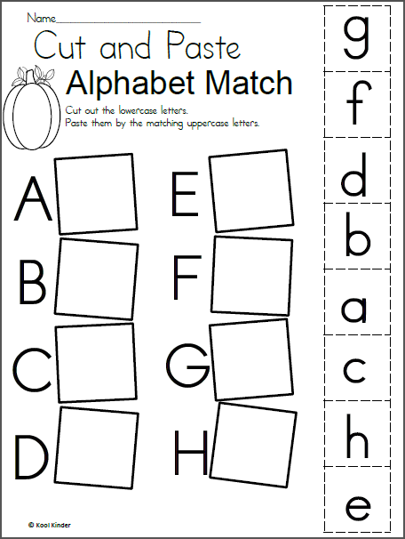 Alphabet Match Worksheet for Fall - Madebyteachers