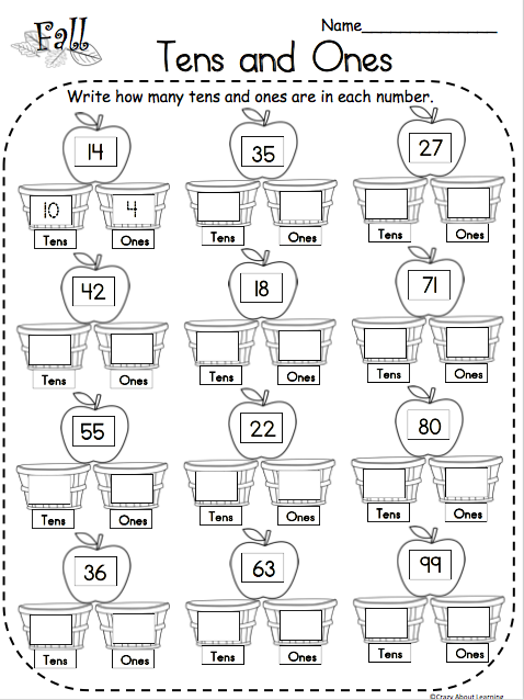 Fall Tens and Ones Math Free Worksheet
