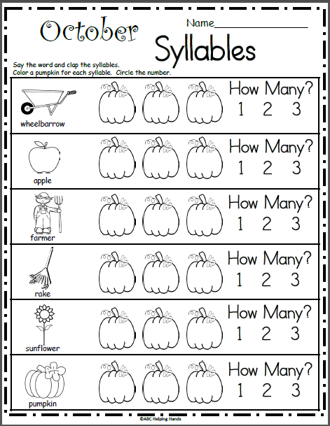 October Syllables Worksheet - Madebyteachers