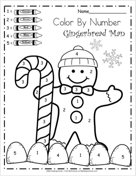 Free Kindergarten Math Worksheets for Winter - Color By Number ...