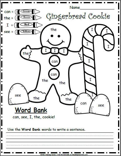 free december kindergarten worksheets for writing color by sight words madebyteachers. Black Bedroom Furniture Sets. Home Design Ideas