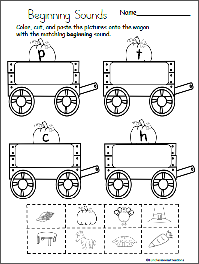 Fall-Beginning-Sounds-Cut-Paste Questions Cut And Paste Worksheet on body parts, for kids, farm animals, shape matching, fall color,