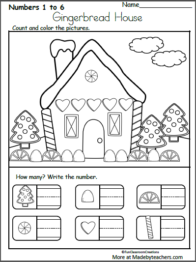 Christmas Gingerbread House Printables.Free December Christmas Worksheets For Kindergarten