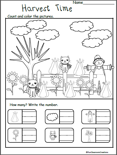 Fall November Thanksgiving Worksheets For Kindergarten - Counting - Made By  Teachers