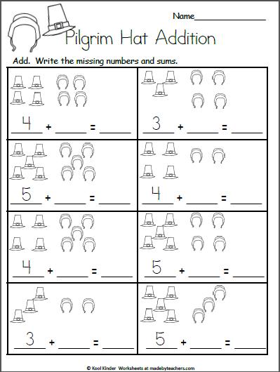 Free Kindergarten Worksheets for Thanksgiving - Addition ...