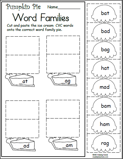 Free November Worksheets For Kindergarten Short A Word