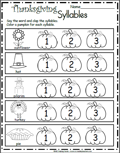 Free Kindergarten Worksheets for November Thanksgiving ...