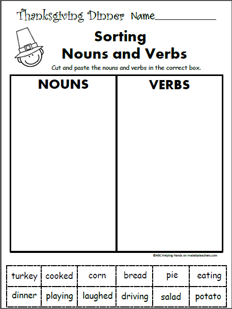 Free 1st Grade Worksheets for November Language Arts - Nouns ...