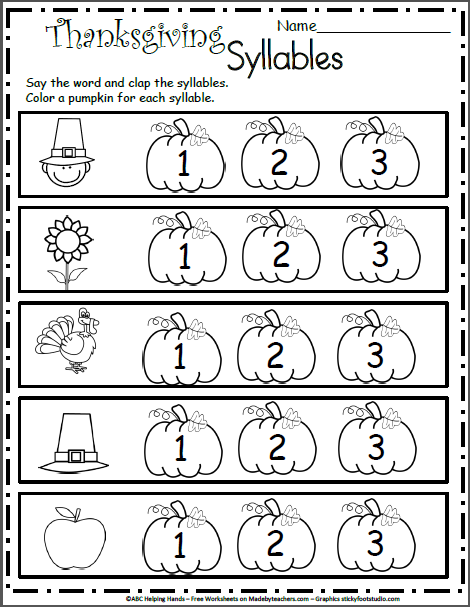 Free Kindergarten Worksheets for November - Syllables ...