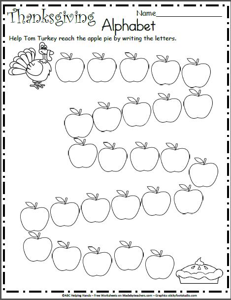 Free Kindergarten Worksheet for Thanksgiving - Letter ...