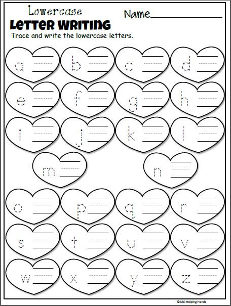 Free February Kindergarten Letter Worksheets for Valentine ...