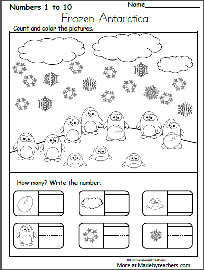 Free Kindergarten Winter Math Worksheet - Count and Write ...