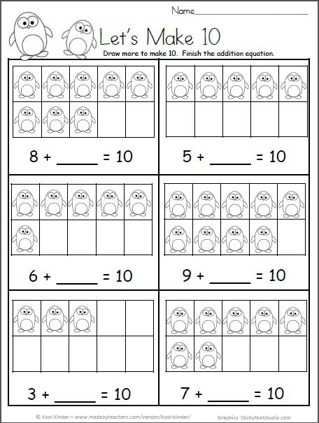 Free Kindergarten Math Worksheets for Winter - Make 10 ...