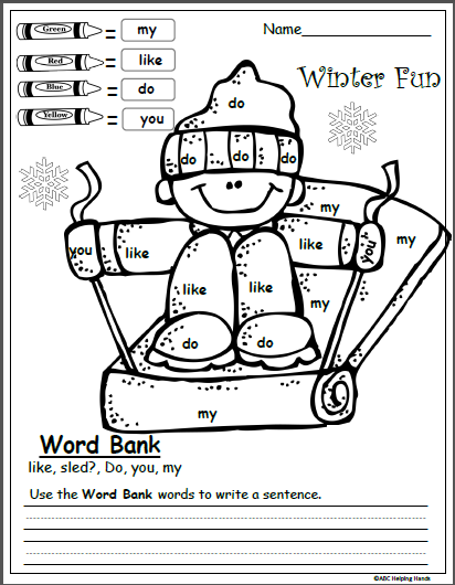 Free Winter Color By Sight Word Kindergarten Writing ...