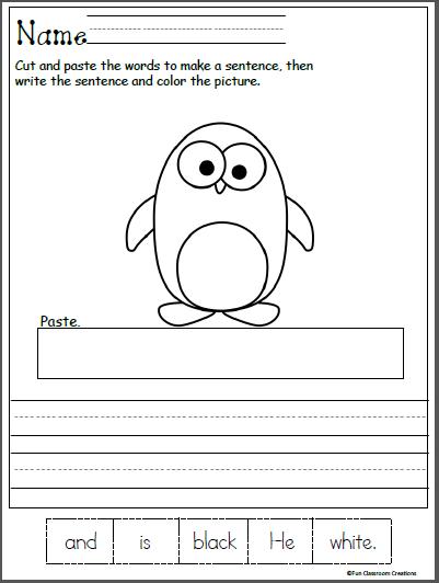 Winter Kindergarten Reading Worksheet