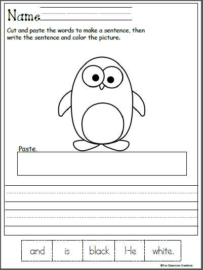 Free Kindergarten Winter Reading Worksheet