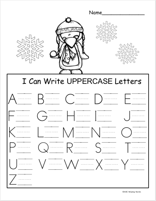 Free Winter Kindergarten Letter Writing Worksheet ...