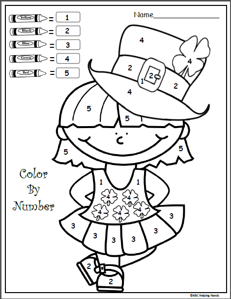 photograph relating to Color by Numbers Printable known as No cost Shade By means of Quantities Printable for March Kindergarten