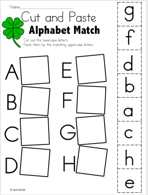 Free March Alphabet Worksheets for Kindergarten - Cut and ...