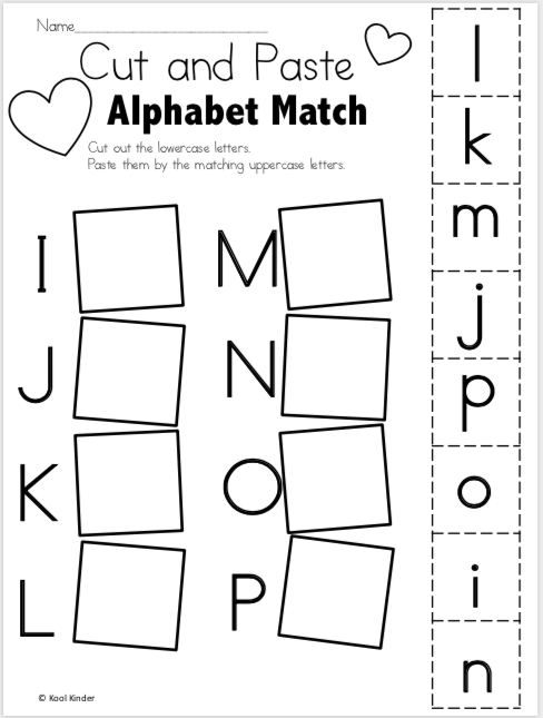 Free Alphabet Worksheets For Valentine's Day - Cut And Paste - Made By  Teachers