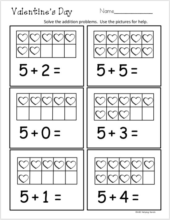 Free Kindergarten Math Addition Worksheet - Valentine's ...