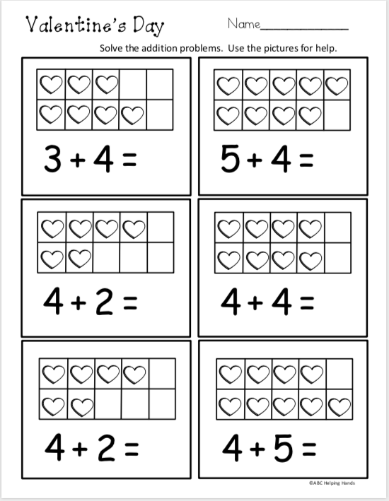 141cd31b6eb Free February Kindergarten Math – Addition. by ABC Helping Hands. Free  Valentine s Day addition worksheet for Kindergarten. Use the ten frames ...
