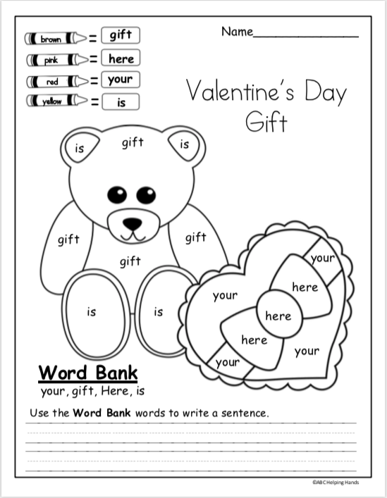 Valentine's Day Writing Worksheet