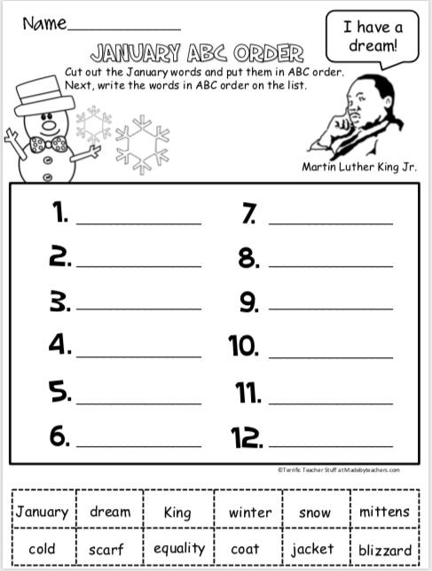ABC Order Worksheet For January - Madebyteachers