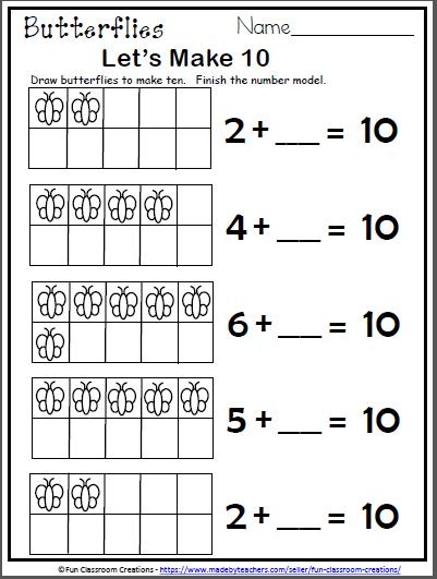 Free Butterfly Math Worksheet For Kindergarten - Let's ...