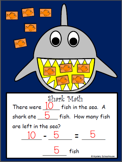 Shark Craft Activity for Subtraction
