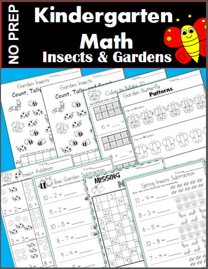 Insects and Gardens Math Worksheets for Kindergarten