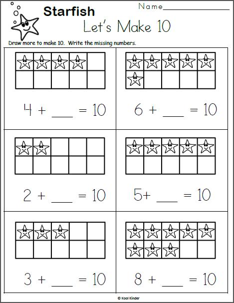 free kindergarten addition worksheet make 10 starfish madebyteachers. Black Bedroom Furniture Sets. Home Design Ideas