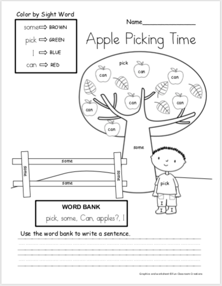 Free Fall Apple Writing Worksheets - Color By Sight Word - Made By Teachers