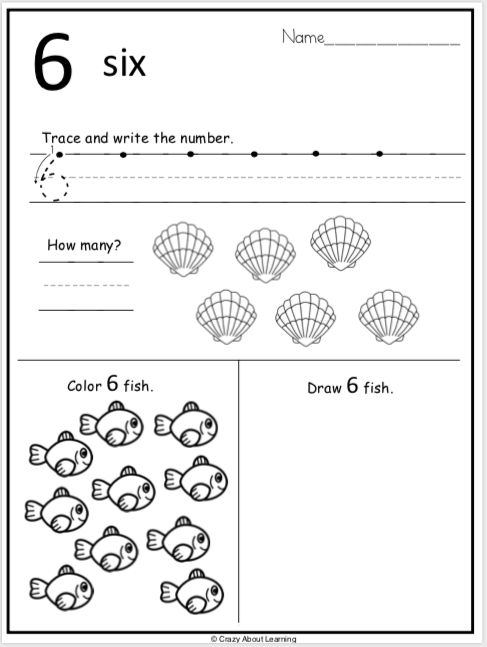 Summer Kindergarten Number Worksheets Practice Number 6
