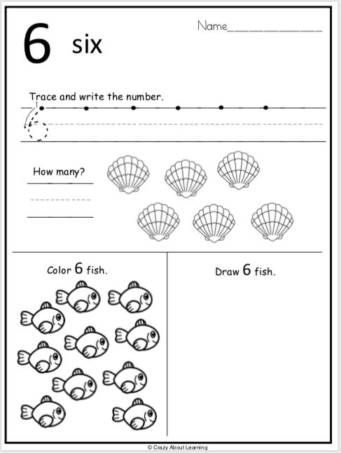 summer kindergarten number worksheets practice number 6 madebyteachers. Black Bedroom Furniture Sets. Home Design Ideas