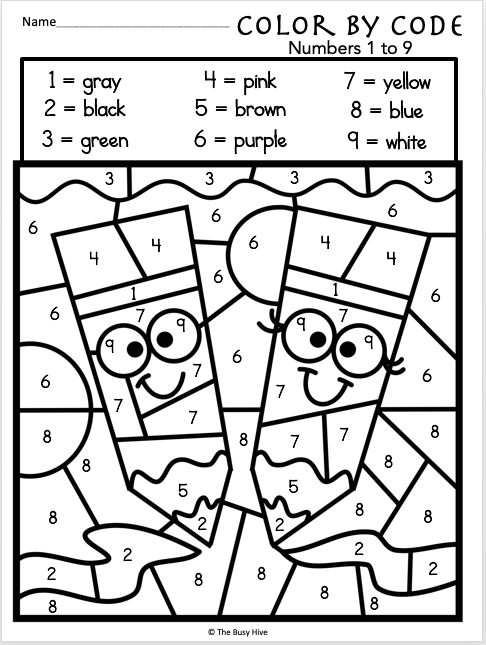 Color By Code Worksheets Numbers 1 to 9 Madebyteachers