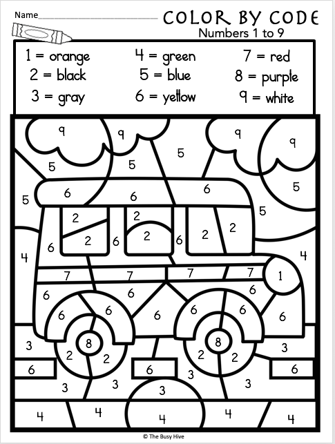 free kindergarten back to school math numbers 1 to 9 madebyteachers. Black Bedroom Furniture Sets. Home Design Ideas