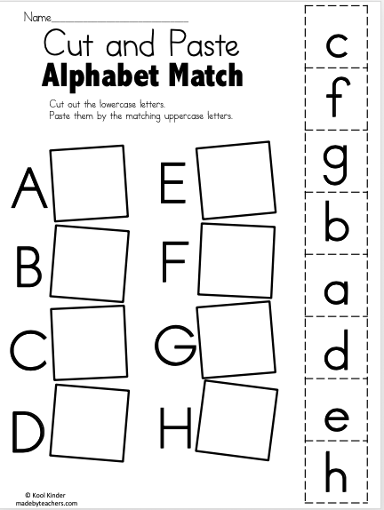 Alphabet Match A to E – Free Worksheets - Madebyteachers
