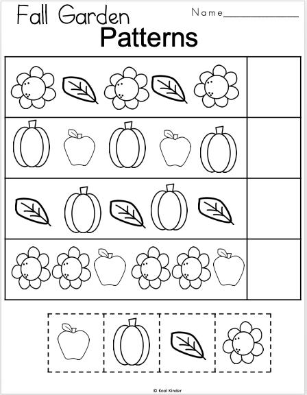 Free Fall Kindergarten Patterns Math Worksheet - Madebyteachers