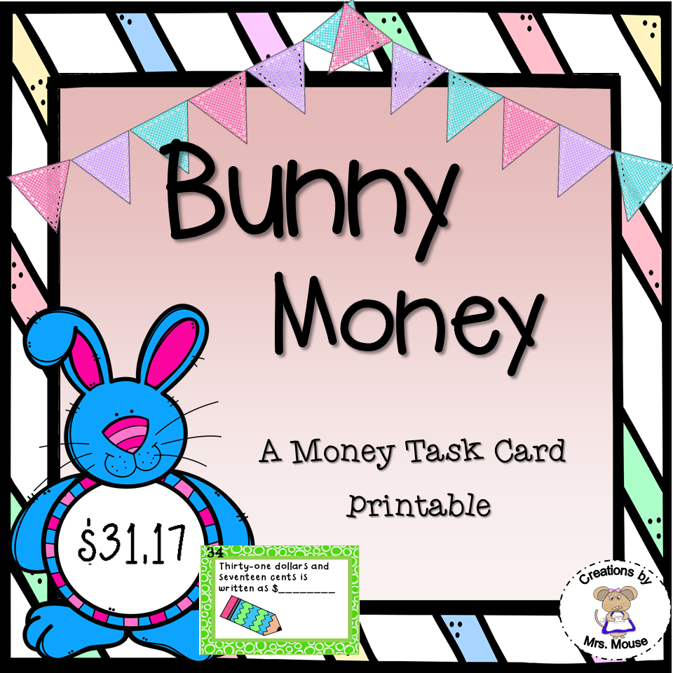 image relating to Printable Task Cards titled Income - Tale Scenario Undertaking Playing cards - Bunny Funds