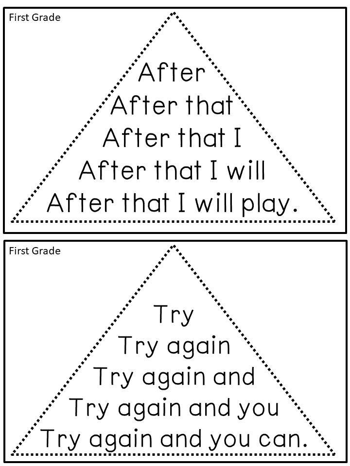 reading fluency triangles u00ae first grade sight words