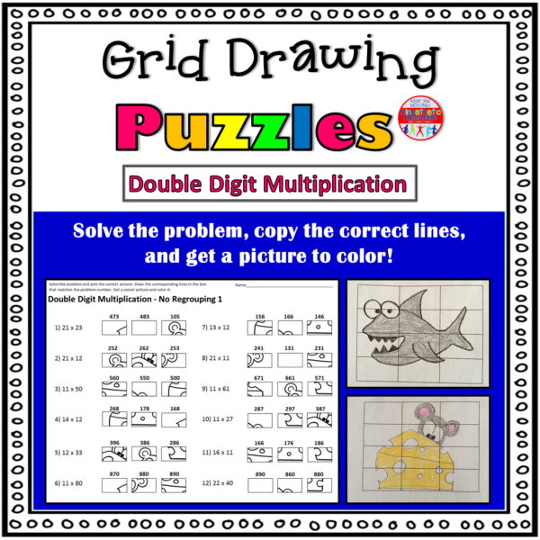 Double Digit Multiplication Grid Drawing Math Worksheets