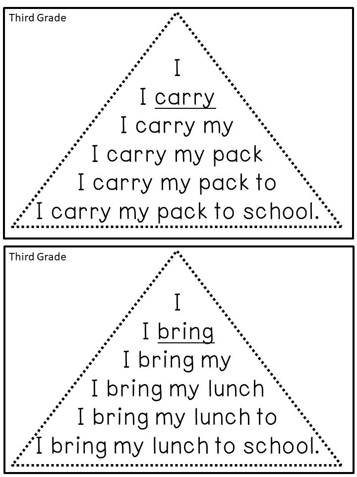 reading fluency triangles u00ae third grade sight words
