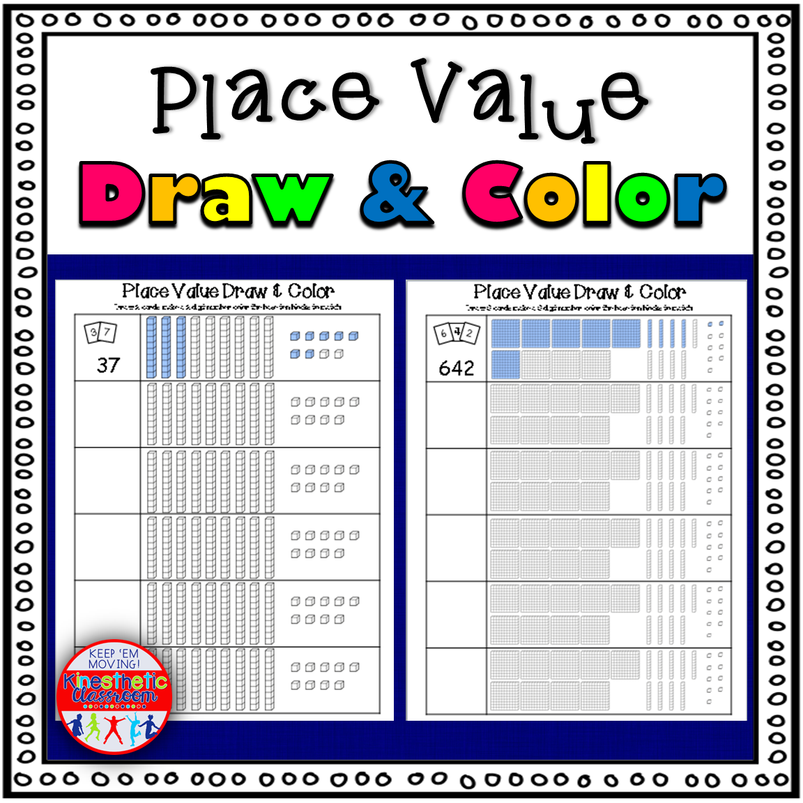 Place Value Draw and Color Worksheets