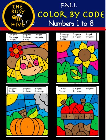 Color By Code Fall Worksheets - Kindergarten Math - Numbers 1 to 8
