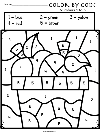 Color By Code Apple Worksheets - Kindergarten Math ...