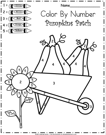image about Fall Color by Number Printable named Free of charge Kindergarten Tumble Shade By way of Selection Worksheet